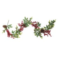 5' Artificial Berries, Leaves and Pine Cones Christmas Garland - Unlit - green
