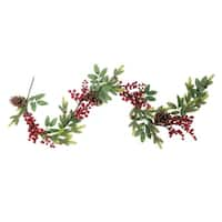 5' Artificial Berries, Leaves and Pine Cones Christmas Garland - Unlit