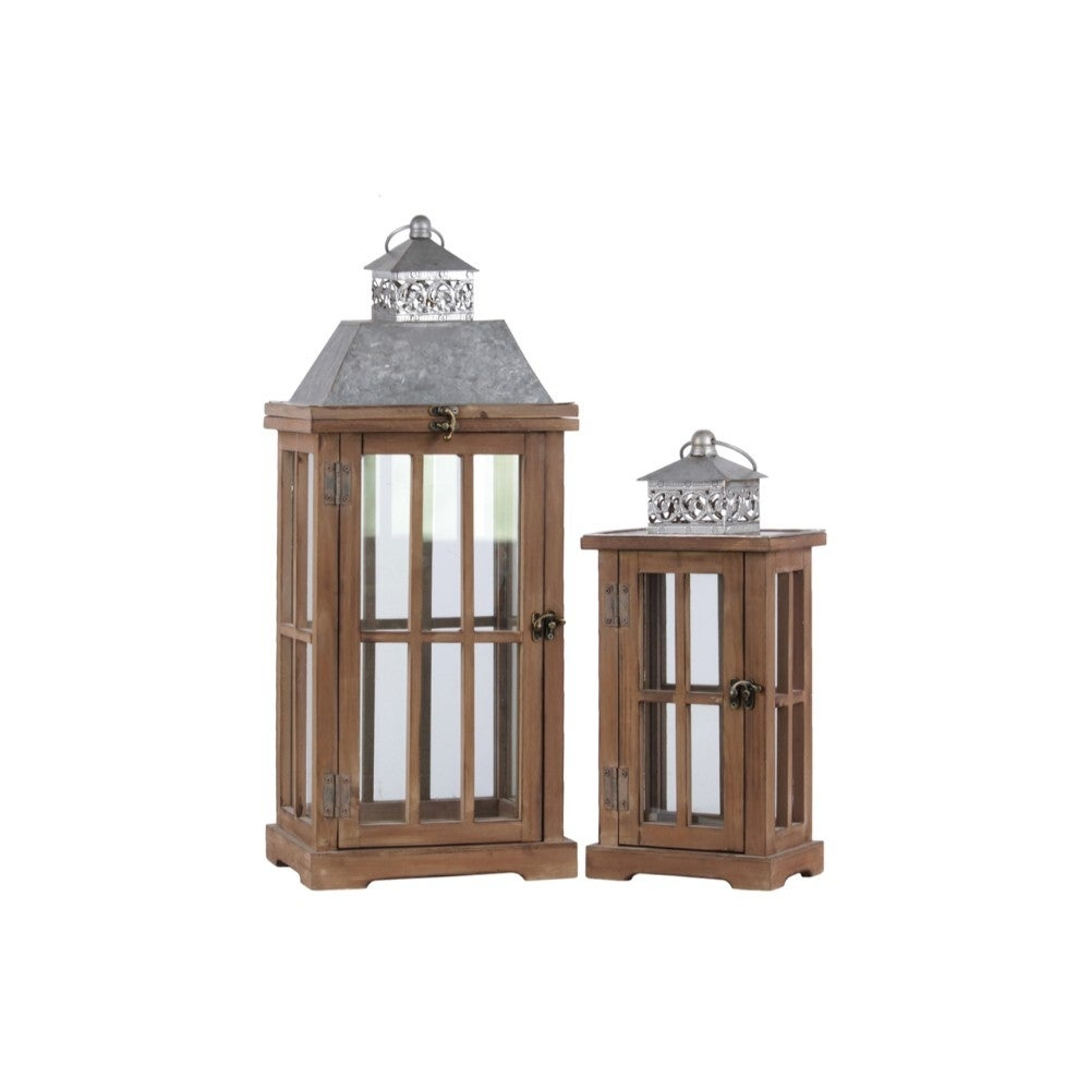 Wooden Lantern With Window Panel Sides, Set Of 2, Natural Brown and Gray
