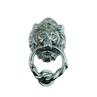 Large Chrome Cast Brass Lion Head Door Knocker 6 1/4 Inch X 3 5/8 Inch