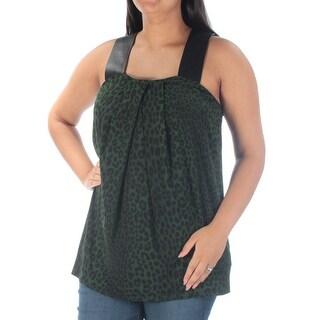 MICHAEL KORS $78 Womens New 1096 Green Faux Leather Sleeveless Top L Plus B+B
