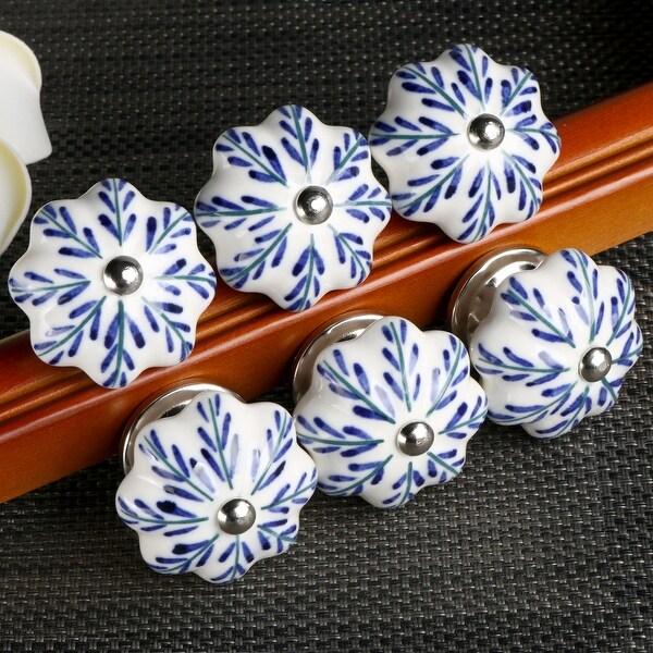 6 Pcs Ceramic Knobs Drawer Pulls Cupboard Handles Vintage Pachira Macrocarpa - multi