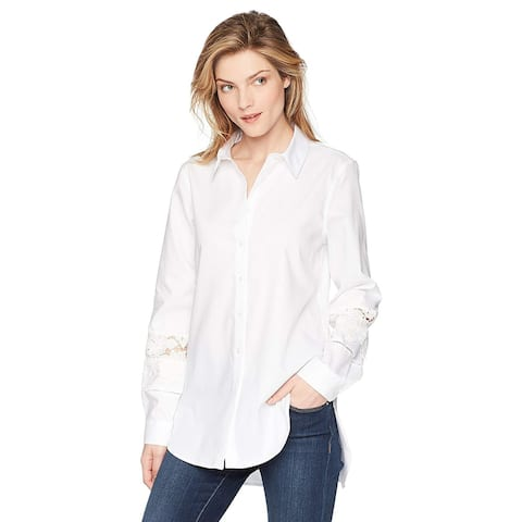 Calvin Klein Women's Boyfriend Blouse with LACE Detail,, Birch, Size X-Small