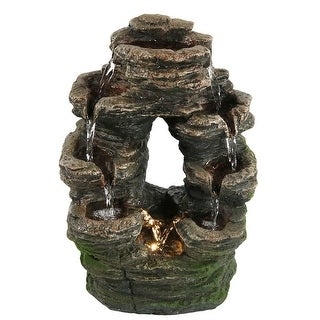 Sunnydaze Split Mossy Rock Falls Tabletop Water Fountain with LED Light, 10 Inches Wide x 14 Inch Tall