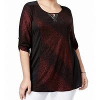 NY Collection Red Women's Size 2X Plus Sparkle Keyhole Knit Top