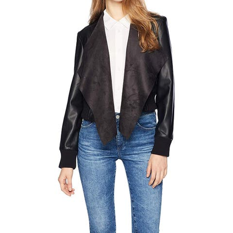 French Connection Womens Jacket Black Size 4 Faux-Leather Draped
