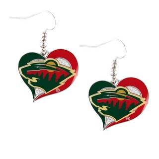 Minnesota Wild Swirl Heart Earring NHL Dangle Logo Charm Gift