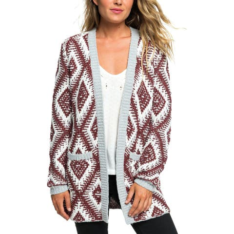 Roxy Womens Cardigan Sweater Wool Metallic