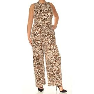Womens Beige Animal Print Jewel Neck Sleeveless Jumpsuit Size XL