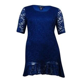 Style & Co. Women's Lace Overlay Ruffled Hem Dress