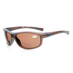 Eyekepper TR90 Unbreakable Sports Bifocal Sunglasses Brown Frame Brown Lens +3.0