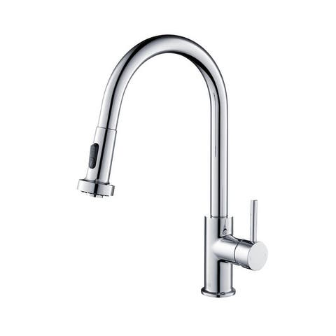 Lead Free Solid Brass Single Level Pull Down Kitchen Faucet with Sprayer
