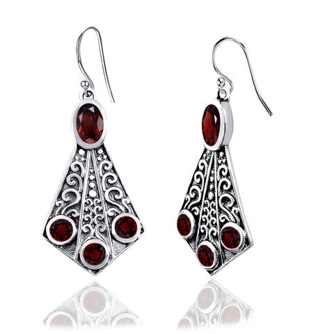 Citrine, Garnet, Sapphire Sterling Silver Oval, Round Dangle Earrings by Orchid Jewelry