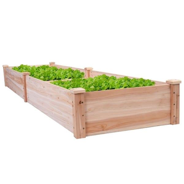Shop Solid Wood 8 Ft X 2 Ft Raised Garden Bed Planter Overstock 29084674