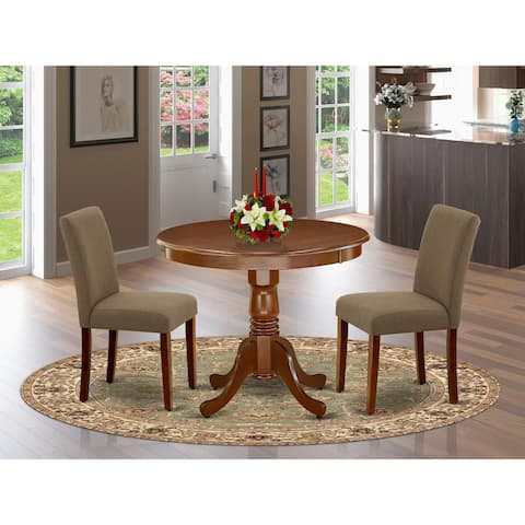 Round 36 Inch Table and Parson Chairs in Coffee Linen Fabric (Number of Chairs Option)