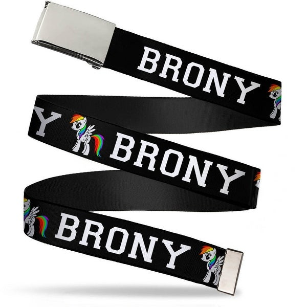 Blank Chrome Buckle Brony Belt W Text Black Rainbow Webbing Web Belt