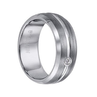 RILEY Satin Finished Center Groove Diamond Setting Tungsten Ring with Polished Edges by Triton Rings - 8mm