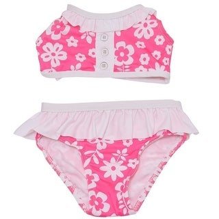 Penelope Mack Baby Girls Pink White Floral Print Halter 2 Pc Swimsuit
