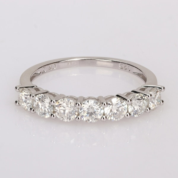 Miadora 1ct DEW Moissanite Semi-eternity Sterling Silver Anniversary Band. Opens flyout.