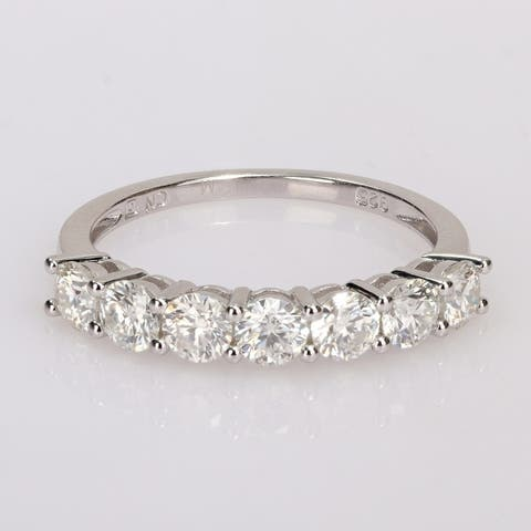 Miadora 1 ct. TGW Moissanite Semi-eternity Sterling Silver Band Ring