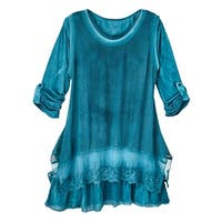 Women's  Tunic Top - Jade Mesh Overlay Layered Long Sleeve Blouse