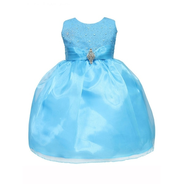 Baby Girl Turquoise Glitter Bodice Organza Skirt Brooch Flower Girl Dress 14M