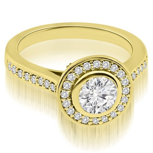 1.00 cttw. 14K Yellow Gold Cathedral Halo Bezel Round Diamond Engagement Ring