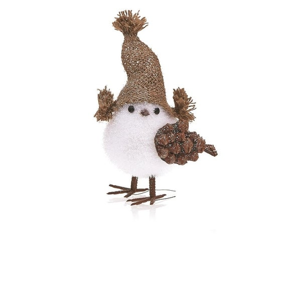 "Pack of 2 Country Rustic Nature Chick Plush and Pine Cone Christmas Table Top Decorations 7.5"" - WHITE"