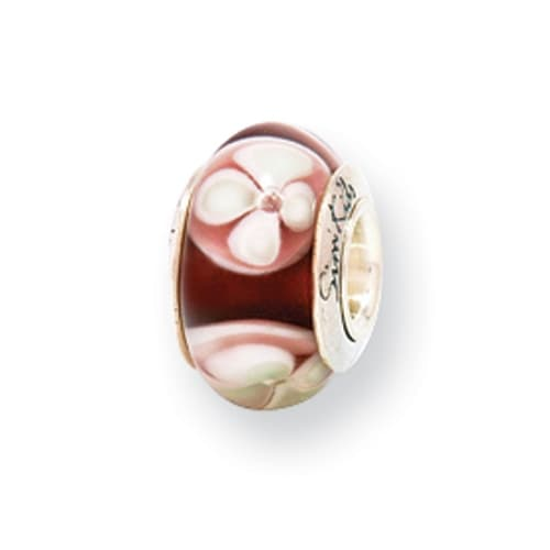 Sterling Silver Reflections Kids Brown Hand-blown Glass Bead