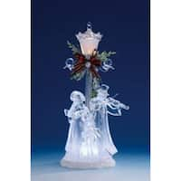 Pack of 2 Icy Crystal Illuminated Christmas Street Lamp with Choir Figurines 11""