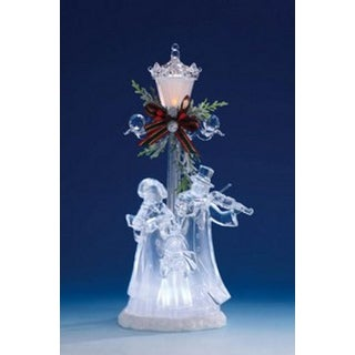 """Pack of 2 Icy Crystal Illuminated Christmas Street Lamp with Choir Figurines 11"""""""