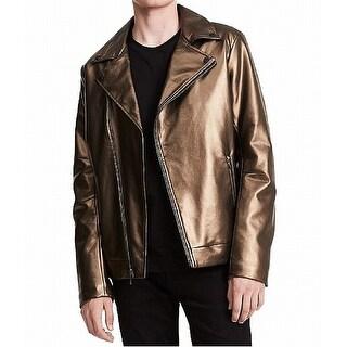 Calvin Klein Gold Mens Small S Pleather Asymmetrical Moto Jacket