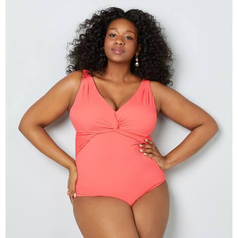 AVENUE Women's Mandy Coral Twist Front Swimsuit with Shelf Bra
