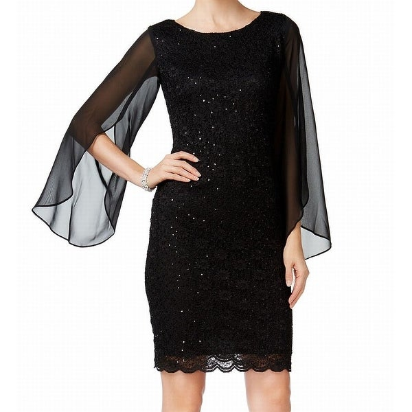 Connected Apparel Black Womens Size 14 Illusion Sleeve Sheath Dress