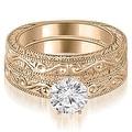 0.50 cttw. 14K Rose Gold Antique Round Cut Diamond Bridal Set - Thumbnail 0
