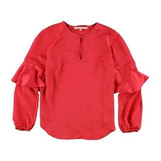 Link to Rachel Roy Womens Solid Ruffled Blouse, red, Small Similar Items in Tops