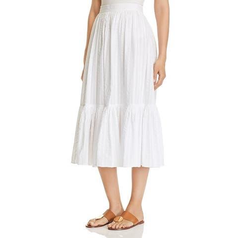 Tory Burch Womens Midi Skirt Cotton Boho - White