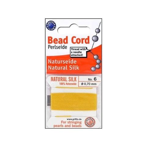 Beadalon Griffin 100% Silk Bead Cord Sz6 2M Yellow