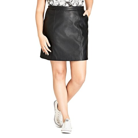 City Chic Womens Plus Mini Skirt Faux Leather Night Out