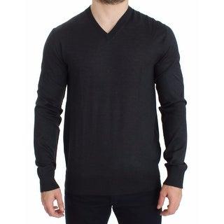 Dolce & Gabbana Gray Silk Cashmere V-neck Sweater Pullover