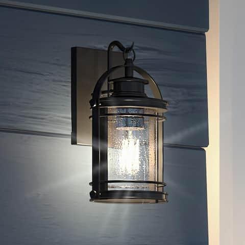 "Luxury Nautical Outdoor Wall Light, 11.5""H x 6.75""W, with American Bunglalow Style, Black Silk, UQL1430 by Urban Ambiance"
