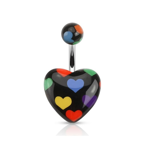 Heart with Multi-Colored Heart Prints Black Acrylic Surgical Steel Navel Belly Button Ring (Sold Ind.)