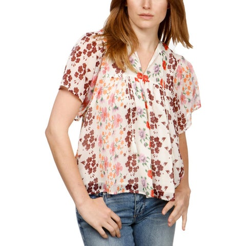 Lucky Brand Womens Blouse Pleated Tie-Front