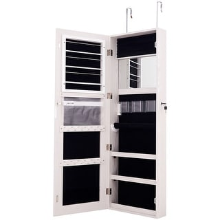 Lockable Storage Jewelry Cabinet  with Frameless Mirror - White