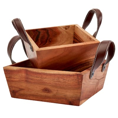Mason Craft & More Square Acacia Wood Serving Bowls with Faux Leather Handles - Set of 2
