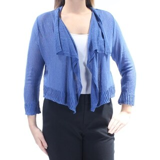 INC $65 Womens New 1099 Blue Ruffled 3/4 Sleeve Open Cardigan Sweater L B+B