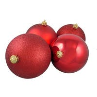 "4ct Red Hot Shatterproof 4-Finish Christmas Ball Ornaments 6"" (150mm)"
