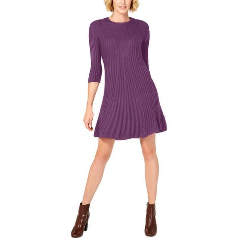 NY Collection Women's Cable Knit A-Line Mini 3/4 Sleeve Sweater Dress