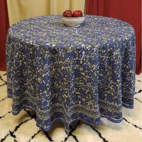 "Handmade 100% Cotton Floral Tablecloth 90"" Round Blue Olive Green"
