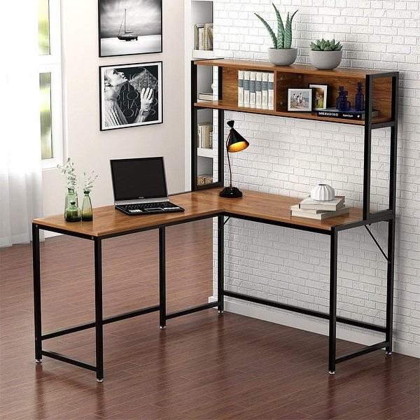 """L Shaped Corner Desk Computer Workstation Home Office: Shop L-Shaped Desk With Hutch, 55"""" Corner Computer Desk"""